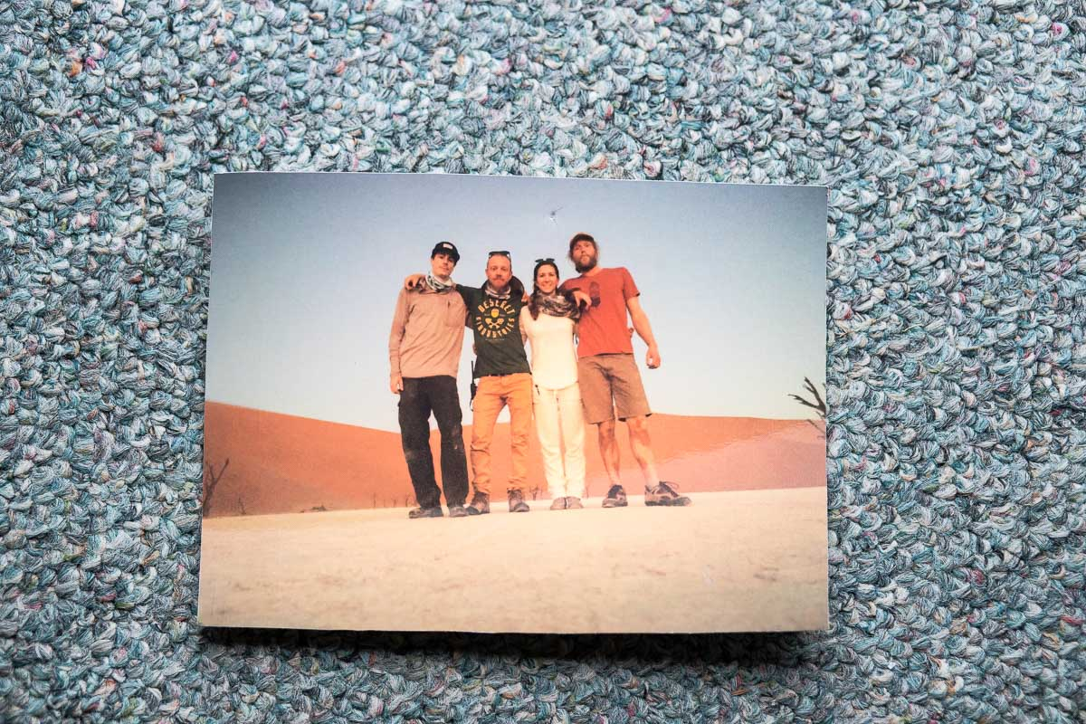 "Photo of crew in Namibia: Kate, Producer. Anson, ""I call him a guardian angel."" George Knowles ""One of my most frequent collaborators. He's an awesome director, camera guy, AC [assistant camera]. Kind of a jack of all trades. He was our AC on that."""
