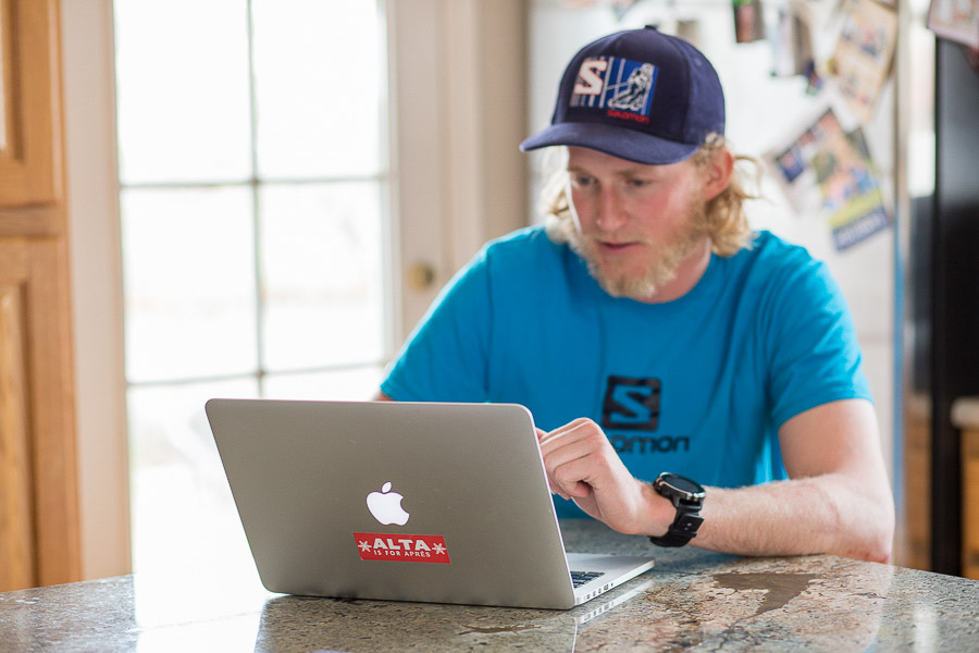 Skier + Writer Drew Petersen with his computer in Salt Lake City, Utah. Photo: Kim Olson