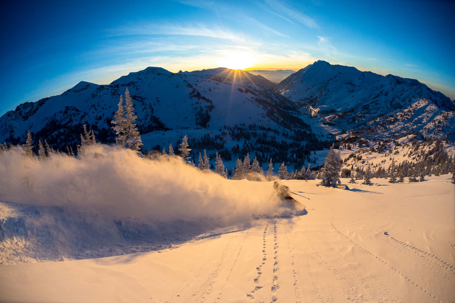 Drew Petersen skiing Little Cottonwood Canyon in Utah. Photo: Sam Watson