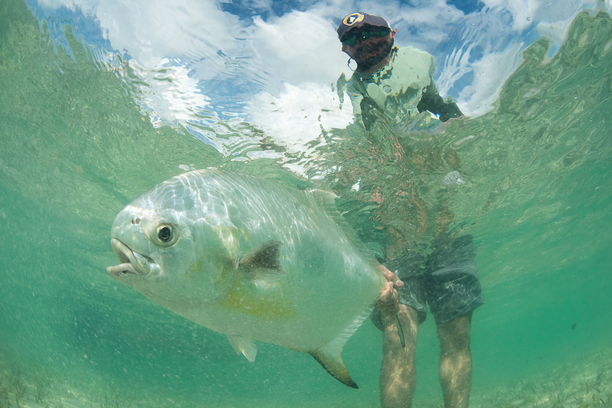 Greg Breslau with permit in Ascension Bay, Punta Allen, Mexico. These days, I'm spending time at the other end of the lifecycle: water. The salt fisheries remind me of big mountains environments — vast, only now it's warm and flat. —Flip McCririck