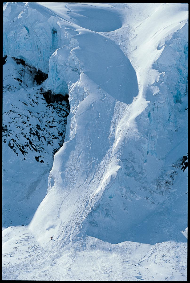 "Kent Kreitler skis a glacier tongue in Valdez, Alaska. Style-wise, I always considered myself more of a ""place"" person. Put people in an amazing place and you got it. Those were the types of photos I liked so I went with it. The athletes always liked the approach but I may have lost an ad sale or two. —Flip McCririck"