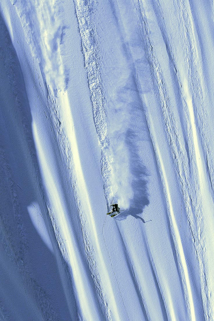 Shane McConkey slides a runnel on water skis in Bella Coola, BC, Canada. I learned to remain invisible — staying out of the way mentally and physically paid off as I got to build my career with visionary athletes and film companies. —Flip McCririck