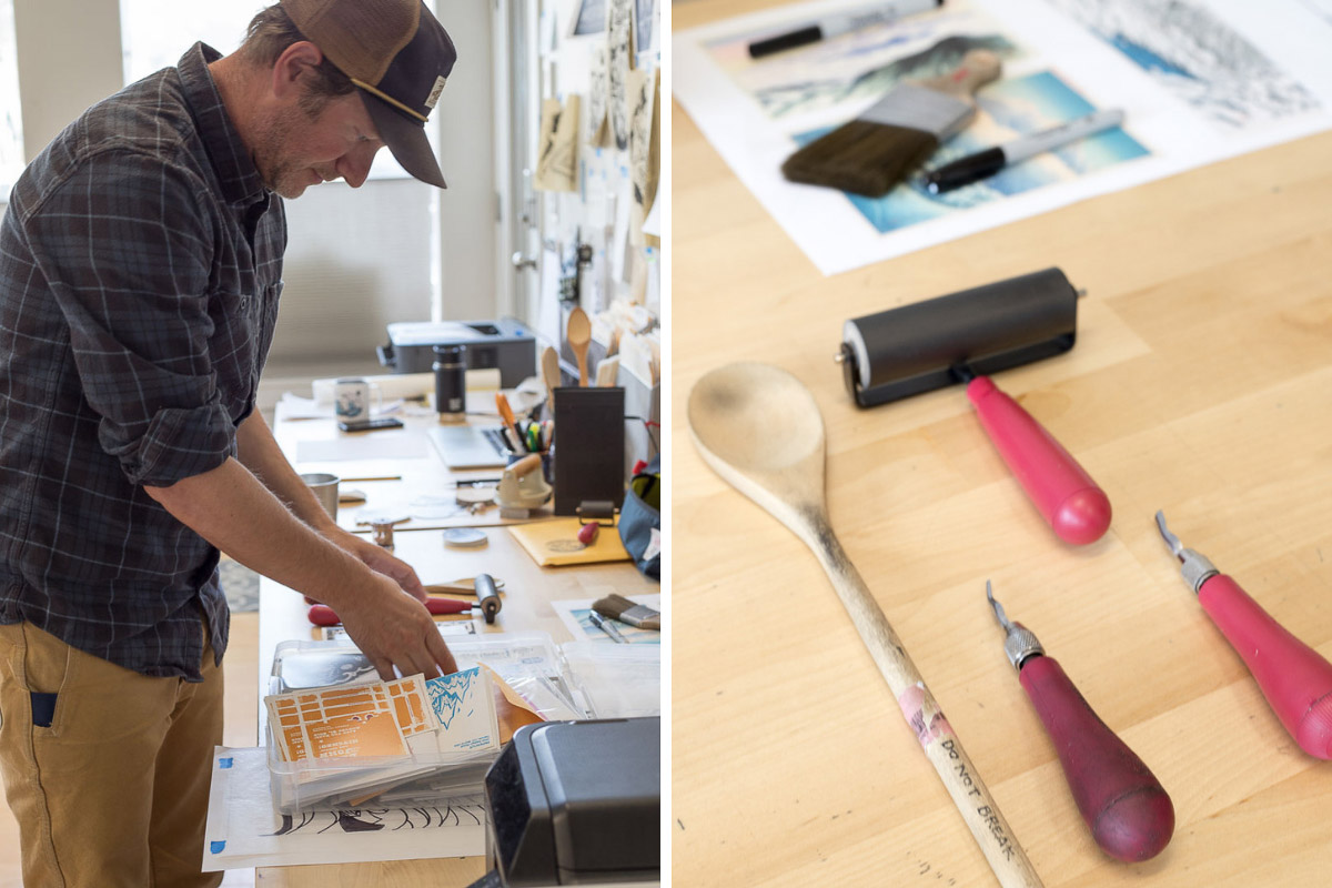 The tools of Printmaker, Illustrator, Graphic Designer John Fellows in Crested Butte, Colorado,