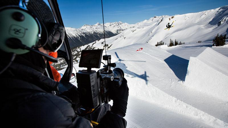 Josh Berman filming from a helicopter in Whistler, BC, Canada. Photo: Erik Seo