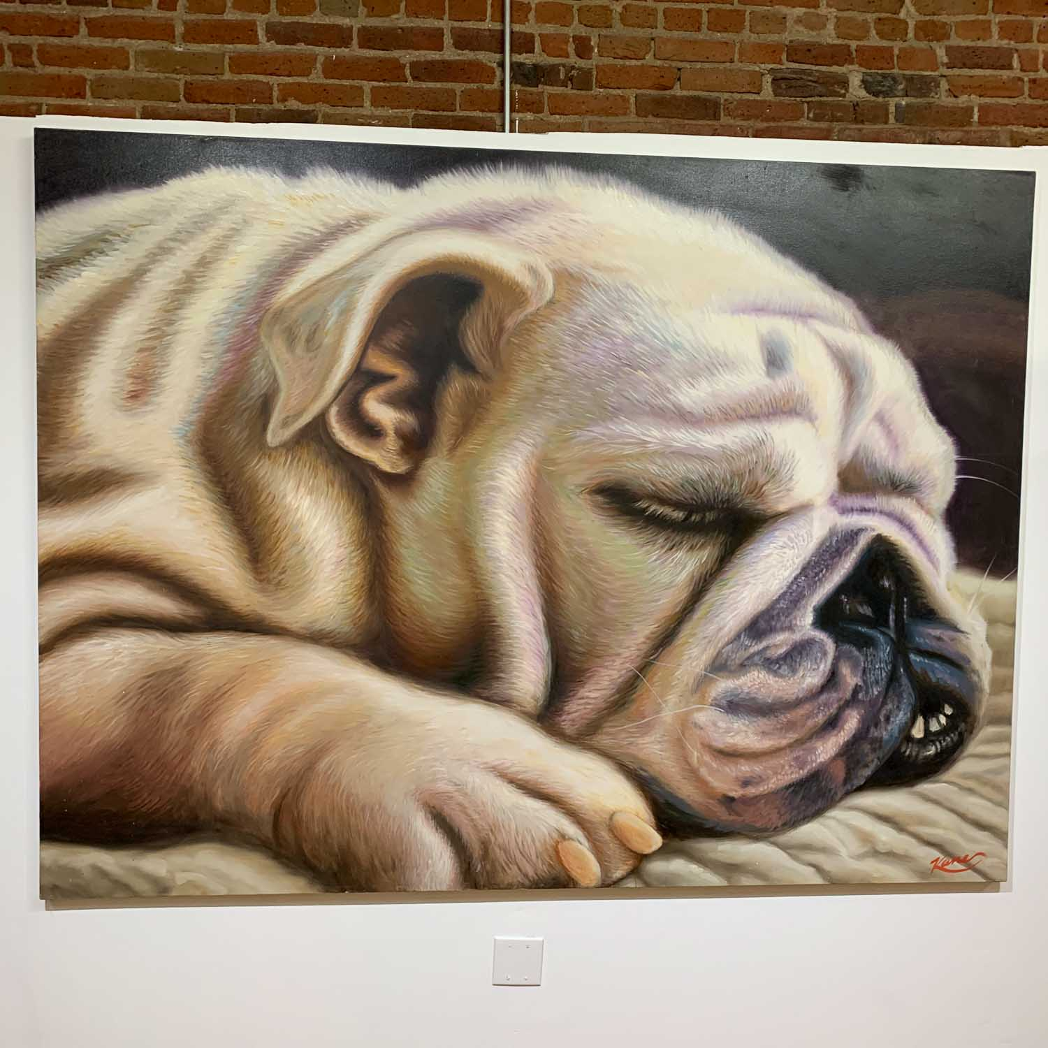 "First painting done of my dog/muse ""Bouguereau"" that I did in NYC/2007. This is the beginning of using my bulldog as an inspiration for my dog portraits that I do today. Oil on canvas 72"" x 96"". —Patrick Kane McGregor"