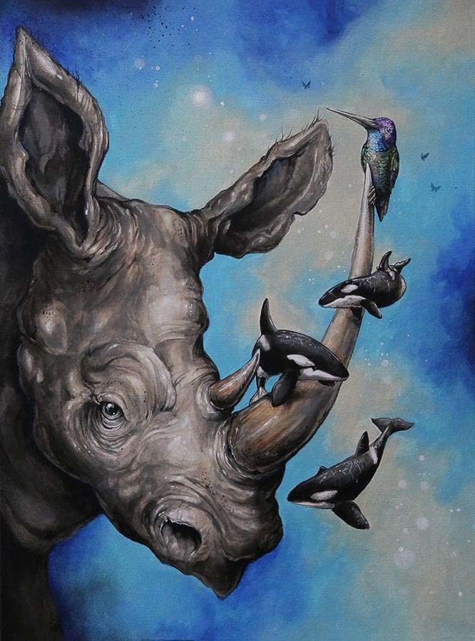 """Chasing Echoes"" acrylic on canvas. I love rhinos and would love to see one in the wild. I watched several documentaries on the illegal ivory trade around the world. I had just finished a mural of orcas while in Alaska and had an idea of them swimming around, speaking to each other via echolocation while protecting rhinos from poachers. They would never be together but the visual concept and world in which they would be together was something I had to create. Hummingbirds are also close to my heart. So I loved the idea of one feeling majestic while keeping watch atop the rhinos horn. —Patrick Maxcy"