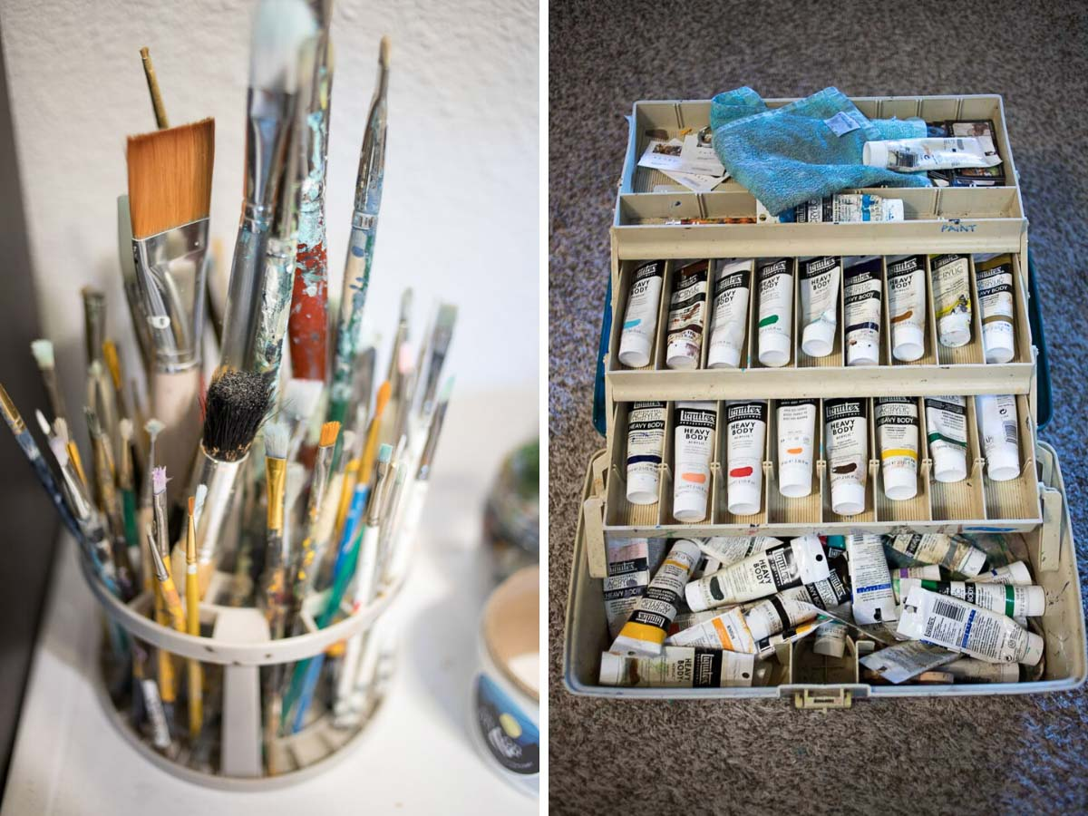 Tools + supplies painter and muralist Patrick Maxcy uses. Denver, Colorado.