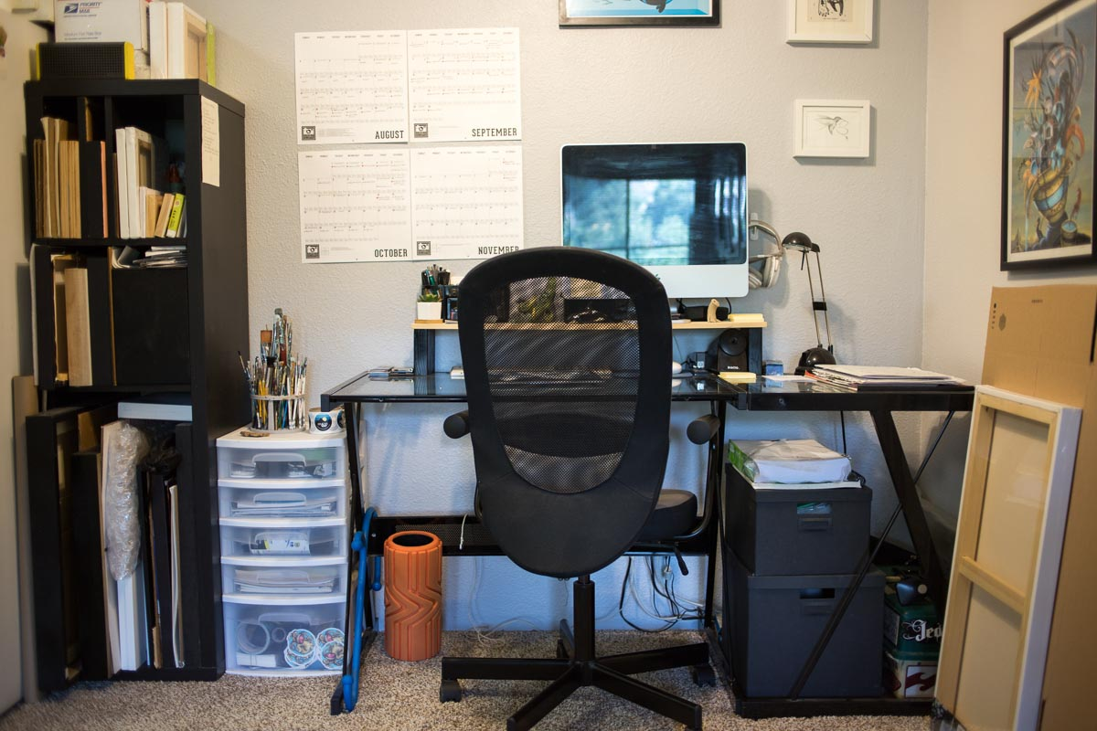 Painter and muralist Patrick Maxcy's desk and workspace. Denver, Colorado.