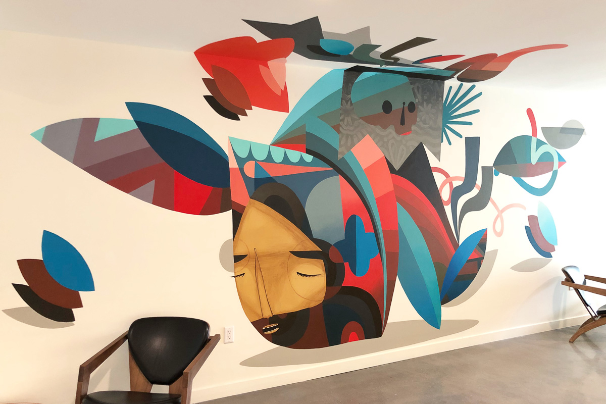 Collaboration with Jaime [Molina]. For this particular piece we wanted to explore breaking the traditional mural canvas and have the piece explode onto the ceiling. —Pedro Barrios