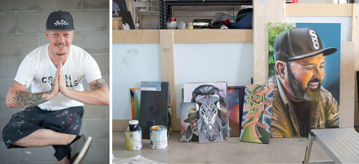 Artist Robin Munro at his studio with some of his paintings. Denver, Colorado.