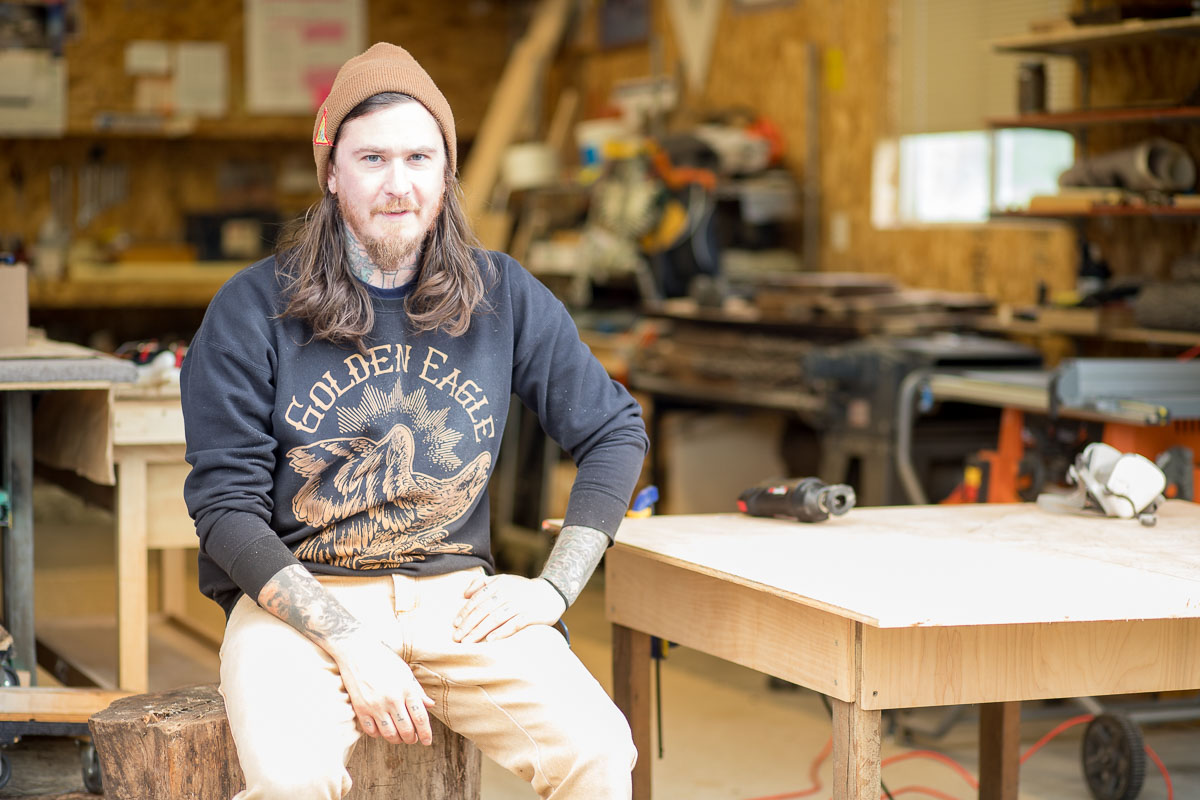 Tattooer, Woodworker + Artist Scott Santee in his Golden, Colorado, workspace