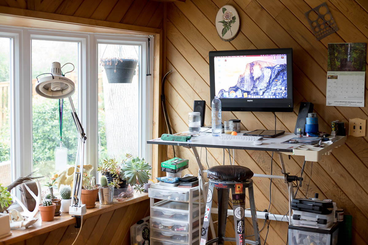 Tattooer, Woodworker + Artist Scott Santee's workspace in Golden, Colorado