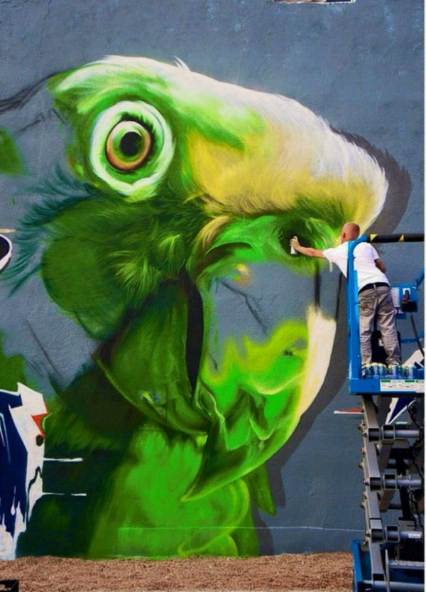 "Macaw mural by Shae ""SRIL"" Petersen"