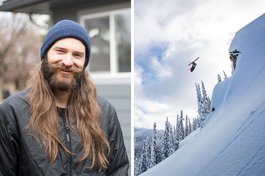 Todd Ligare, Pro Skier. Photo L: Kim Olson, Photo R: Jeff Engerbretson
